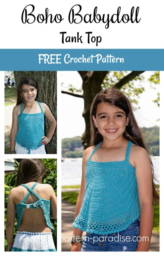 Free Crochet Pattern Boho Babydoll Tank Top Pattern Paradise