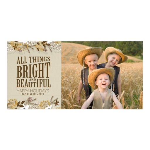 Holiday Photo Card - Brown Gold White