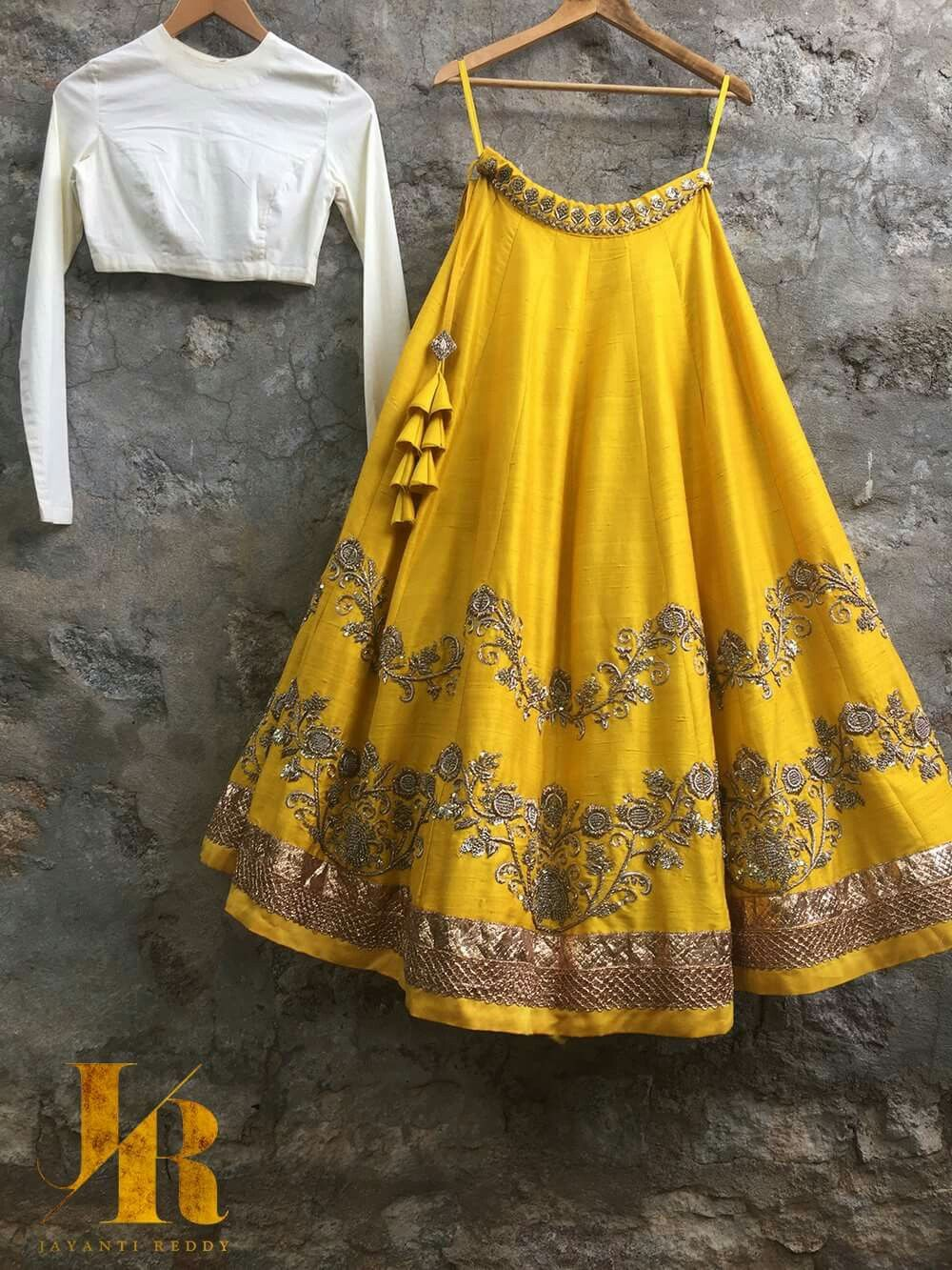 6c36a7c28b A pretty yellow lehenga skirt is rare.