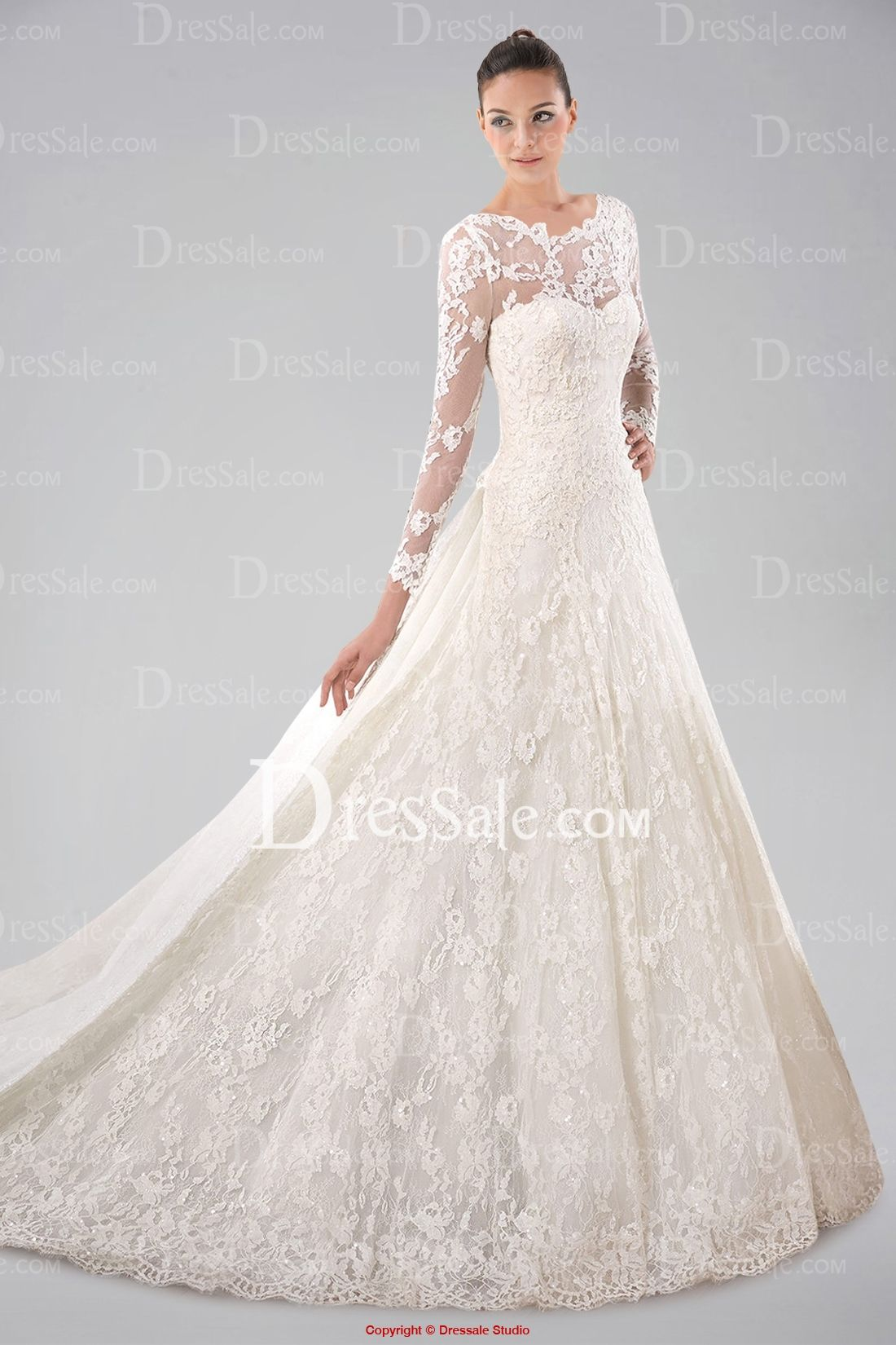 Shop lace long sleeve wedding dresses online dressale long
