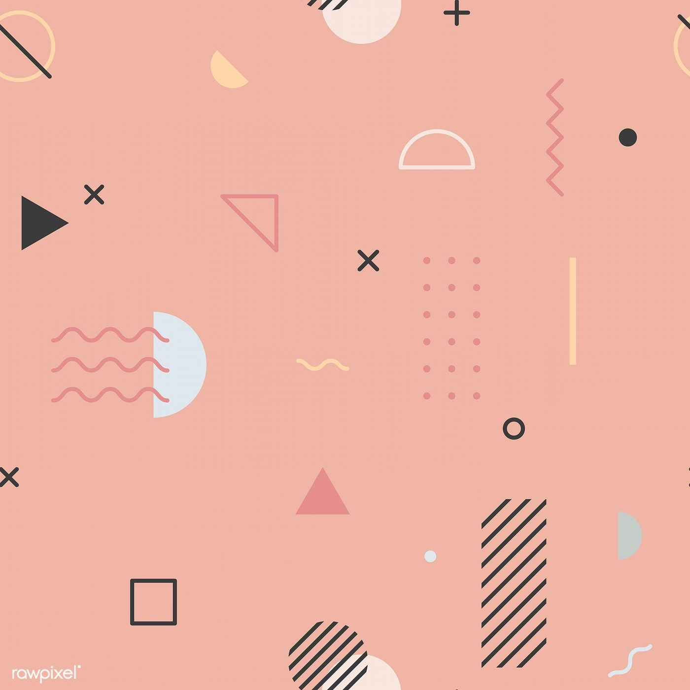Download Premium Vector Of Pink Memphis Pattern Wallpaper Vector