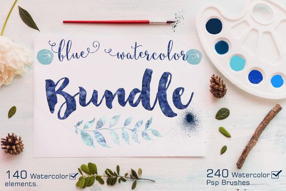Watercolor Bundle +240 Ps Brushes by Lizamperini on Creative Market