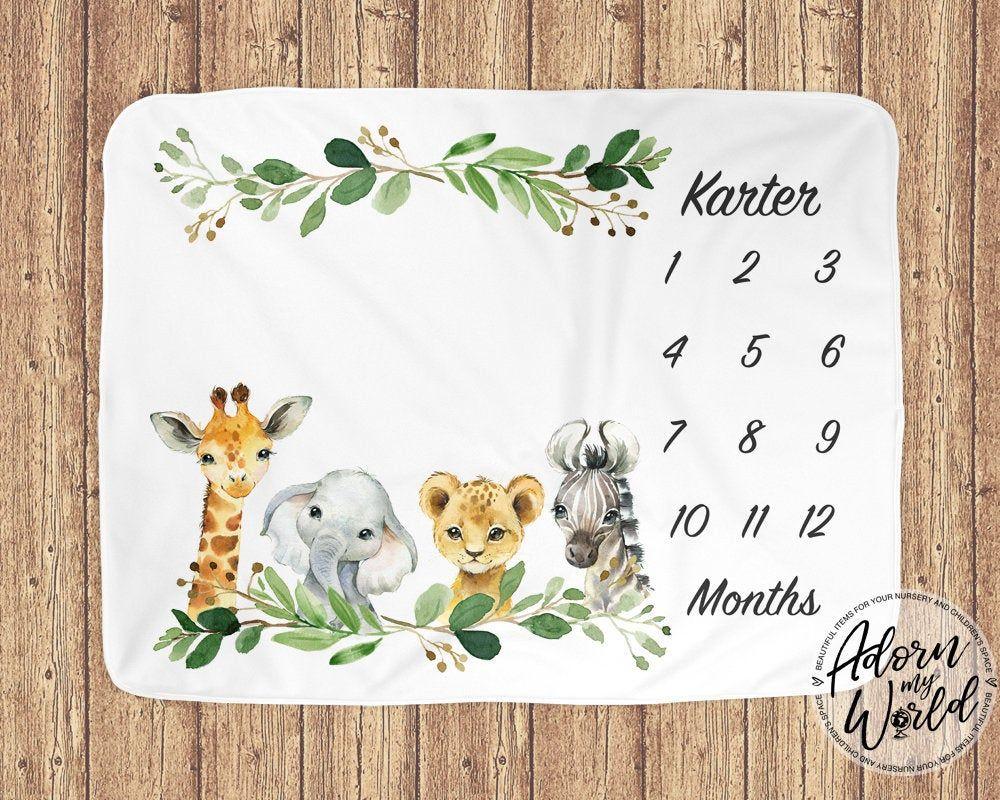 Safari Milestone Blanket Gender Neutral Milestone Blanket Monthly Growth Tracker Elephant Boy Milestone Blanket