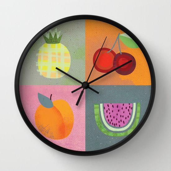 Summer Fruit clock by Michelle Schwartzbauer Design, LLC #homegoods #design #illustration #fruit #pineapple