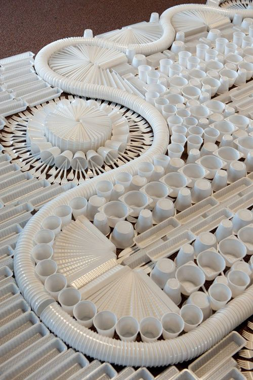 Giant Carpet Made From Disposable Plastic Tableware By We Make Carpets Cutlery Art Contemporary Carpet Found Object Art