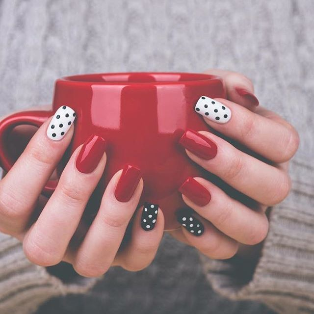 Hold Your Mug With Holiday Nails We Have Expert Nail Technicians At Our Locations Just Call And Schedule Your Appo Dots Nails Dot Nail Art Polka Dot Nail Art