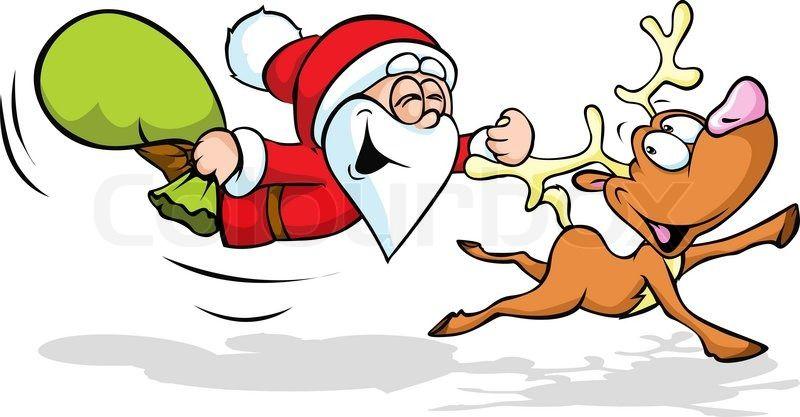funny santa and reindeer - Reindeer And Santa