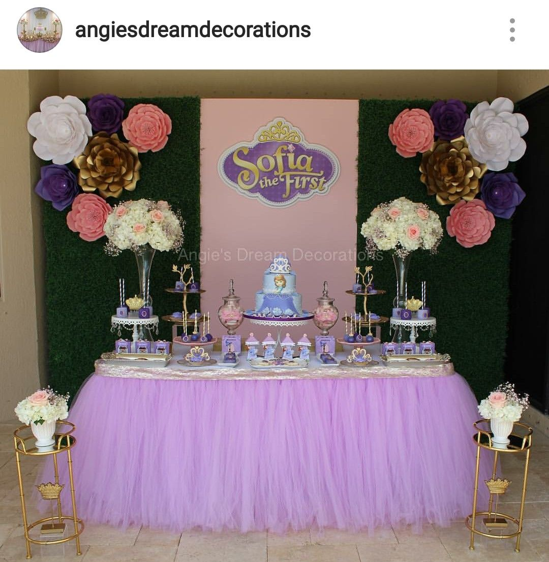 Sofia The First Birthday Party Dessert Table And Decor Sophia Birthday Party Sofia The First Birthday Party Princess Sofia Party
