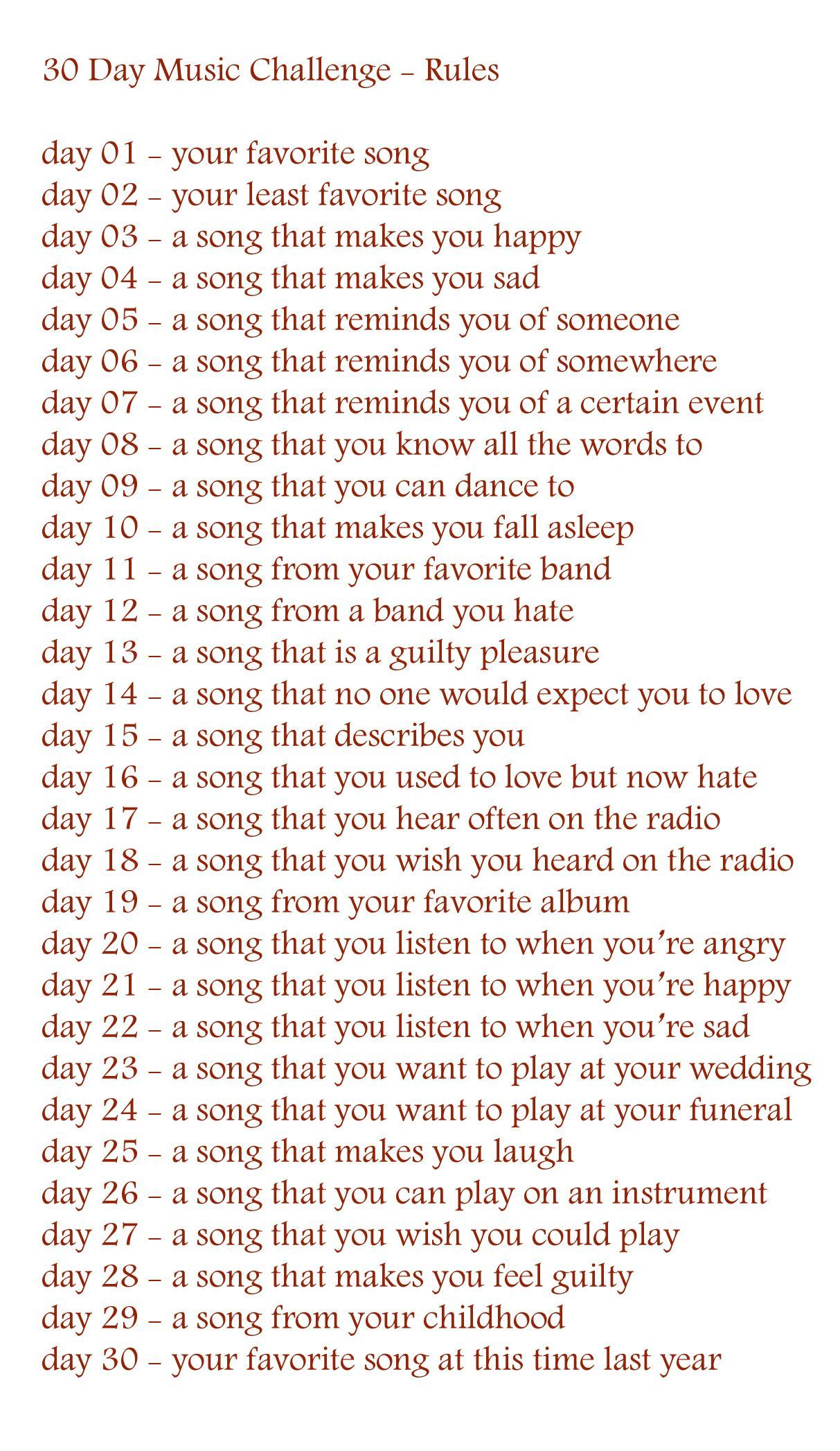 Try This 30 Day Playlist Challenge 30 Days And 30 Different Types
