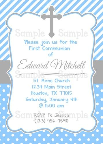 printable boy s first holy communion personalized party invitation