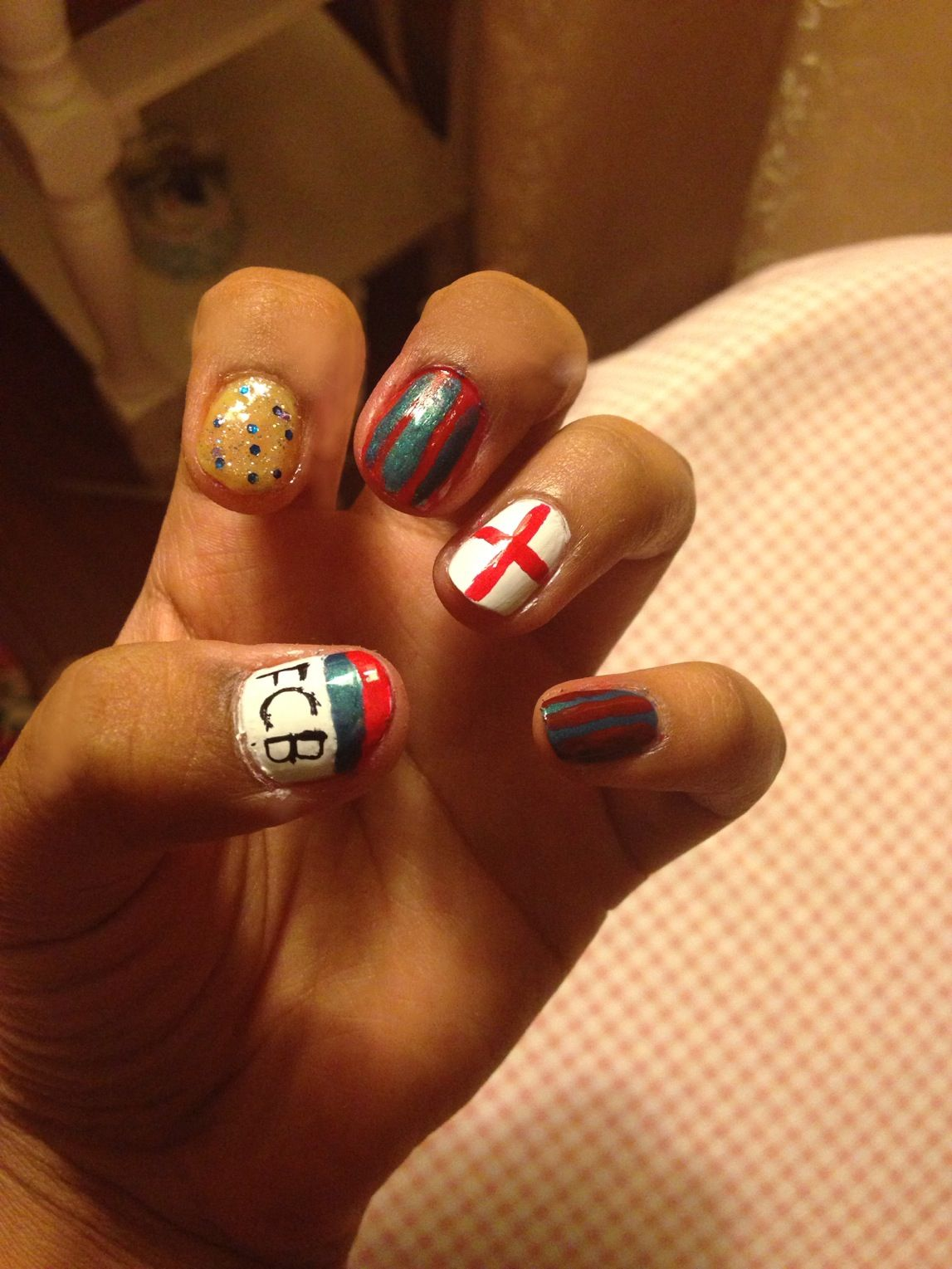My FC Barcelona nails :)! ❤ ⚽ ❤ ⚽ | All Things Soccer ...