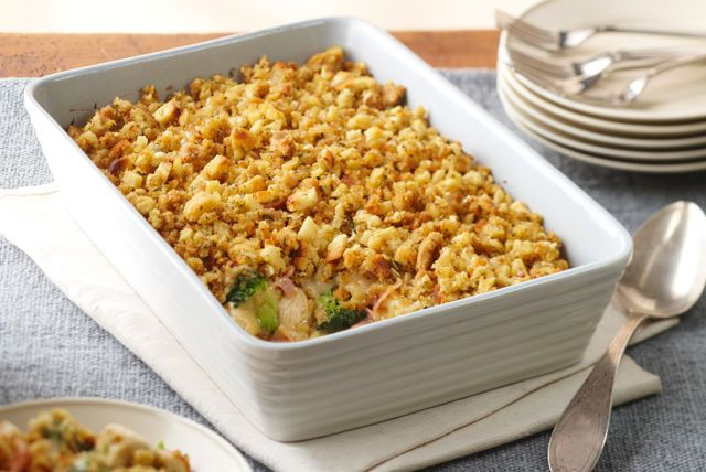 Chicken cordon bleu casserole MAC NOTES: I made it with cream of mushroom instead of cream of chicken and it was SO GOOD. Oh and I used a bag of frozen broccoli lightly defrosted in the microwave
