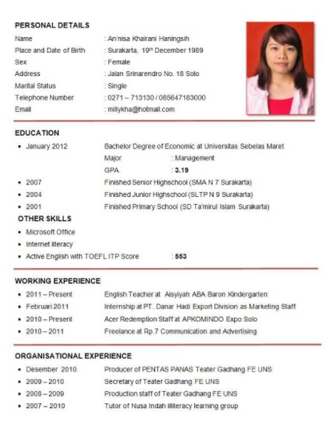 Contoh Curriculum Vitae Cv Bahasa Inggris Contoh Surat Lamaran
