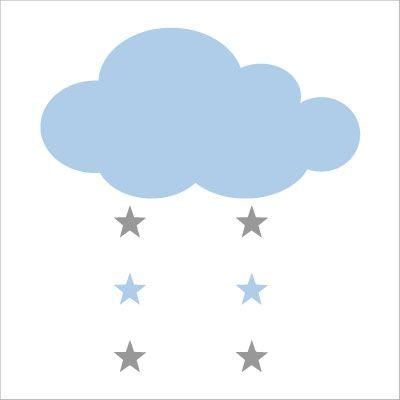 Stickers nuage et étoiles bleu ciel et gris