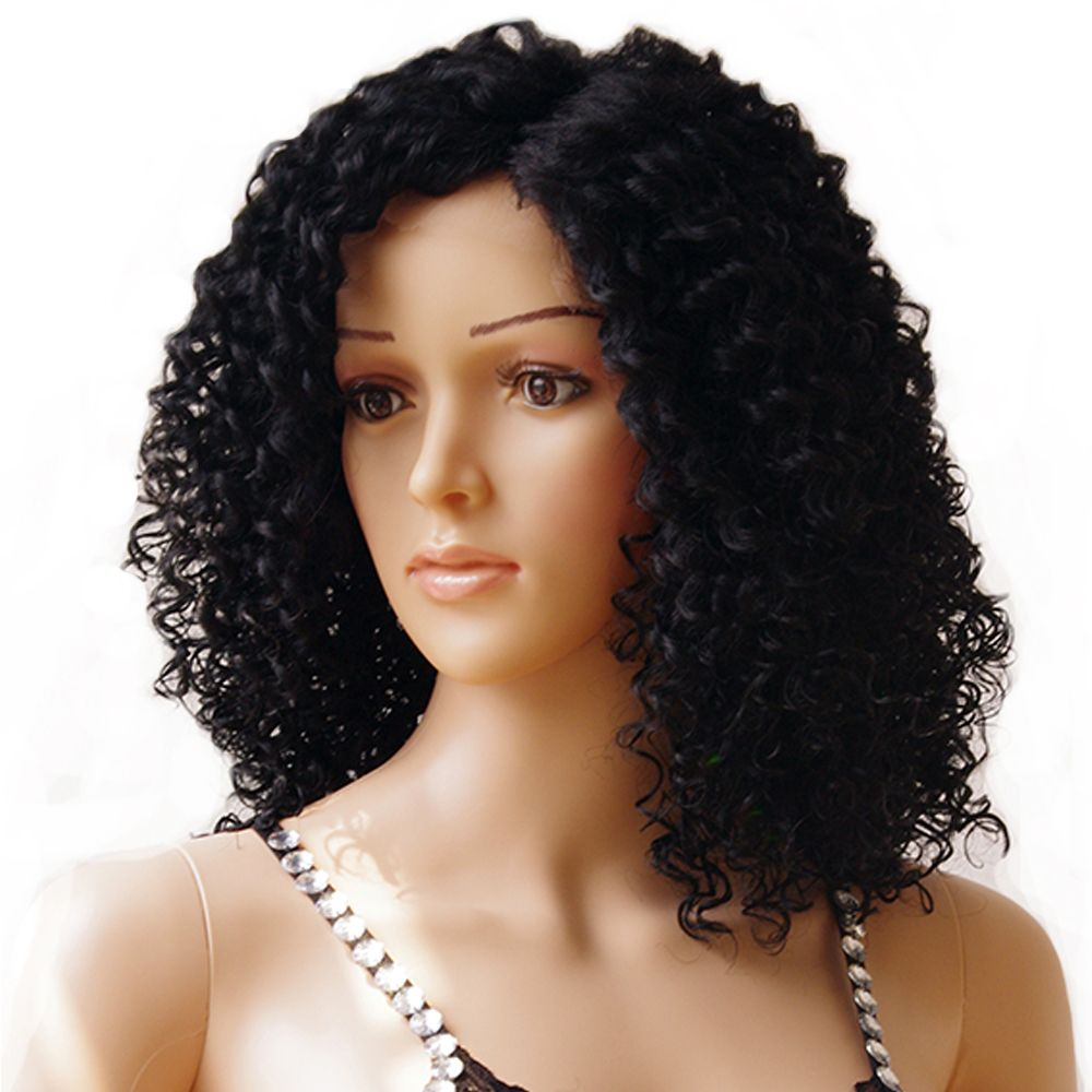 Snoilite cm medium kinky curly bob lace front wig heat resistant