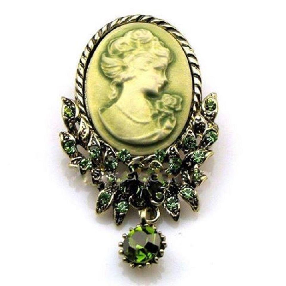 Stunning Green Cameo Brooch/Pendant w/Austrian Crystal Rhinestones GREAT GIFT #ChristmasGifts