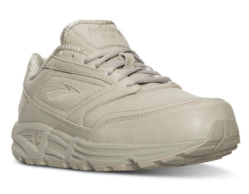 Brooks Women'S Addiction Walker Leather Lace Up Walking Shoes Bone 120032