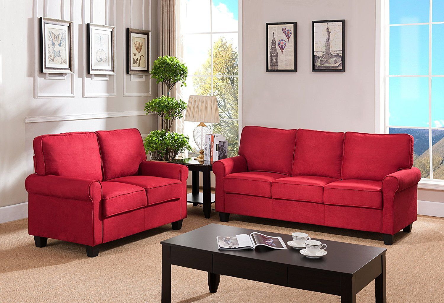 Living Room Designs Ideas With Red Sofa Kings Brand Furniture