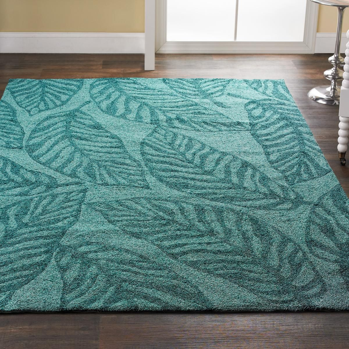 Aqua Leaves Indoor Outdoor Rug Shades Of Light Indoor Outdoor Rugs Outdoor Rugs Tropical Area Rugs