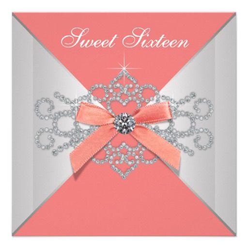 Coral Diamonds and Coral Birthday Party Invitation   Zazzle.com #sweet16birthdayparty