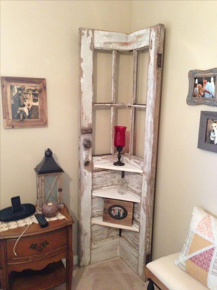 Photo of Corner Shelf from a Reclaimed Door