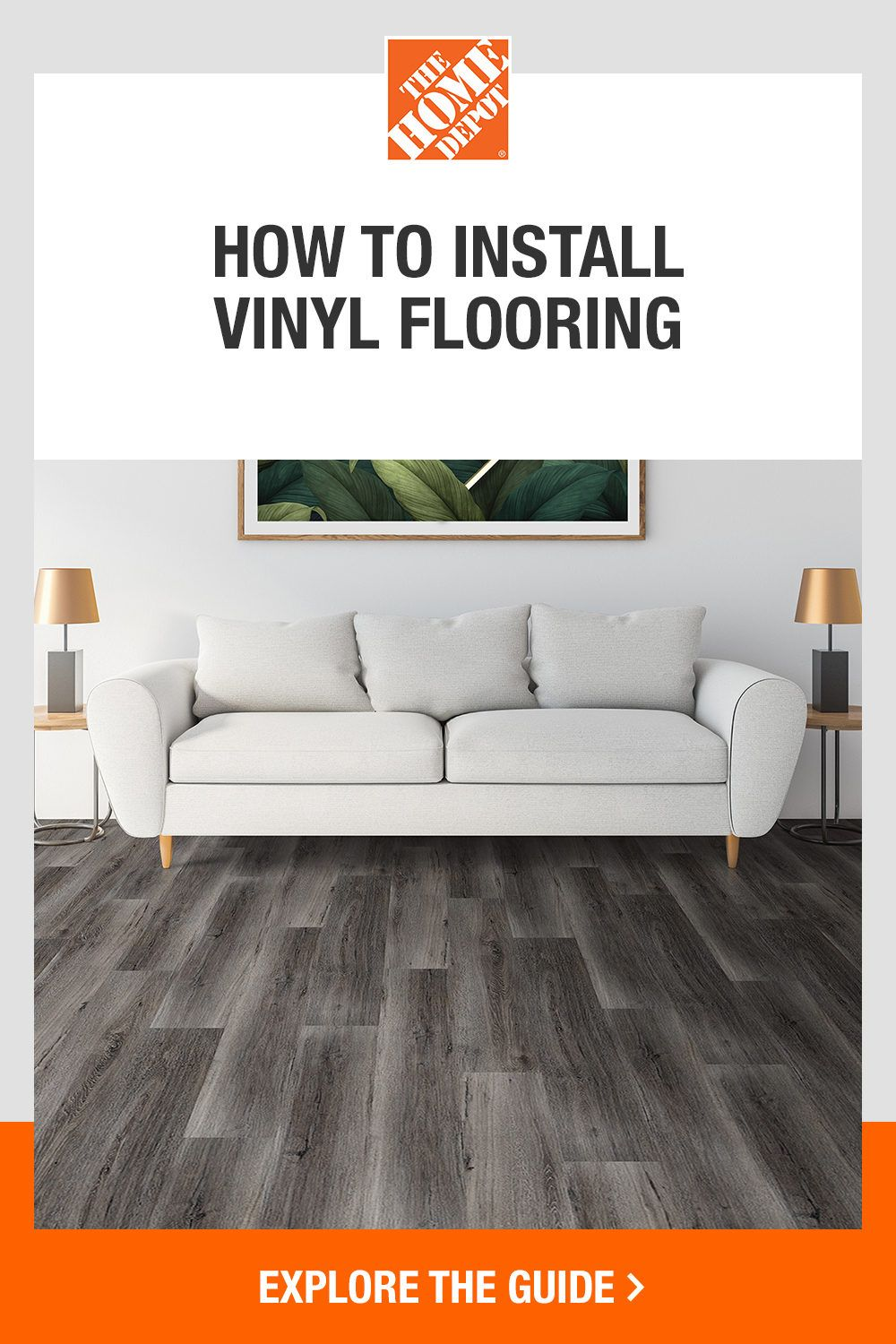 Enjoy the look of real wood with vinyl flooring from The Home Depot. Vinyl flooring is the perfect option to refresh your floors without the cost of installation. This product is versatile, durable, and easy to install—making it a great option for home-improvers. Tap the guide to explore the how-to basics and tools you will need, all available at The Home Depot.