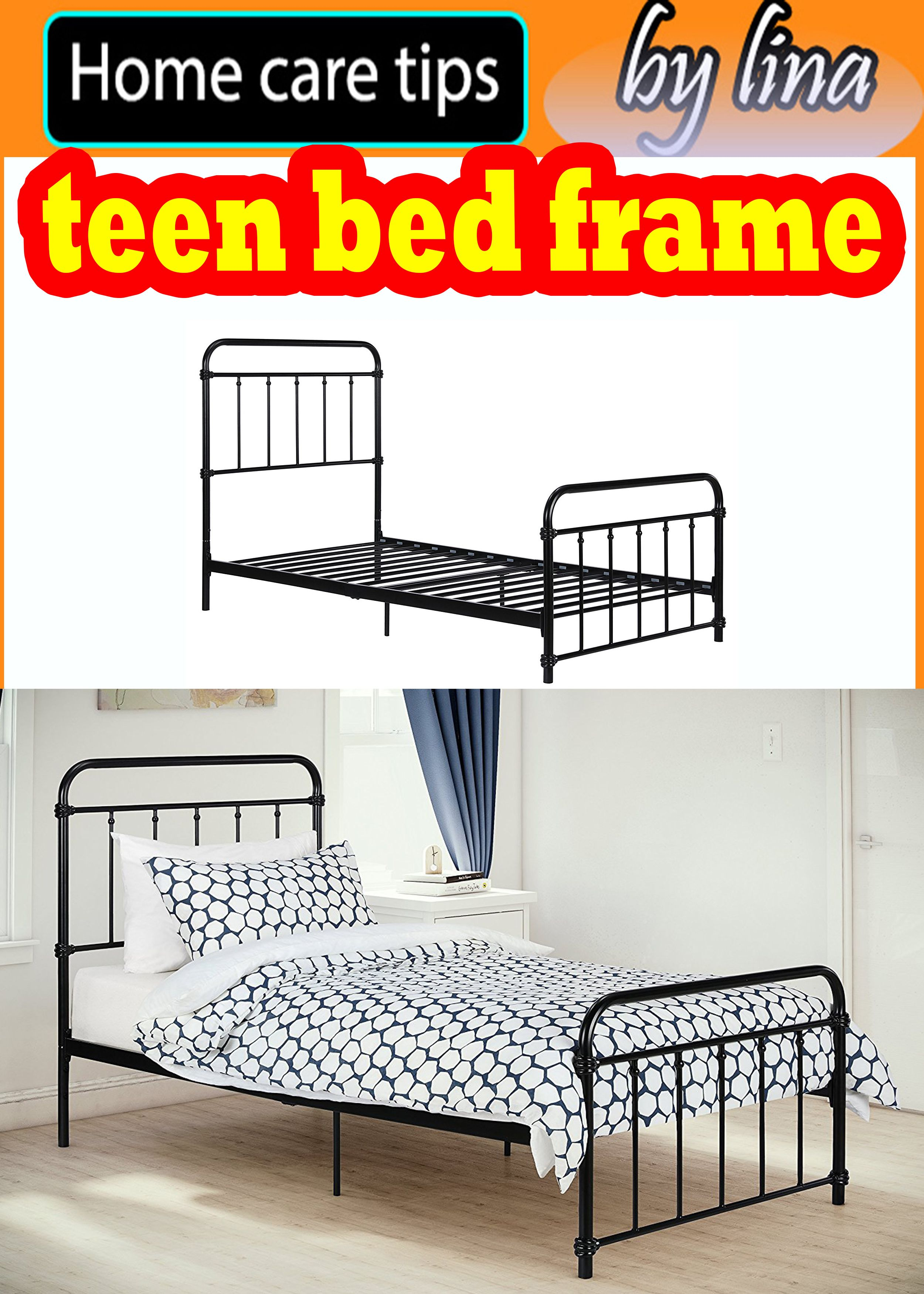 6623bad39f1c DHP Wallace Metal teen bed frame Bed Frame in Black with Vintage Headboard  and Footboard