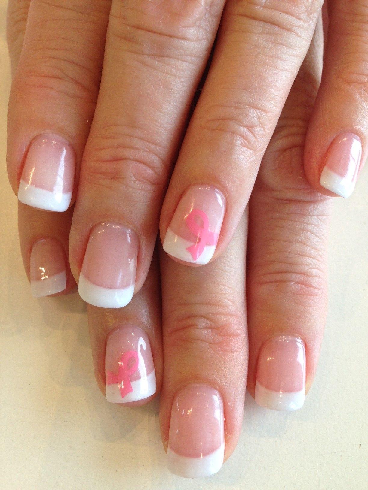 Bio Sculpture Gel French manicure with Breast Cancer Ribbons | For ...