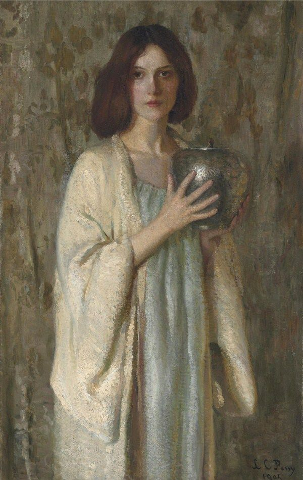 Lilla Cabot Perry (1848-1933, USA) -  Woman with a Silver Vase - 1905 - Private Collection