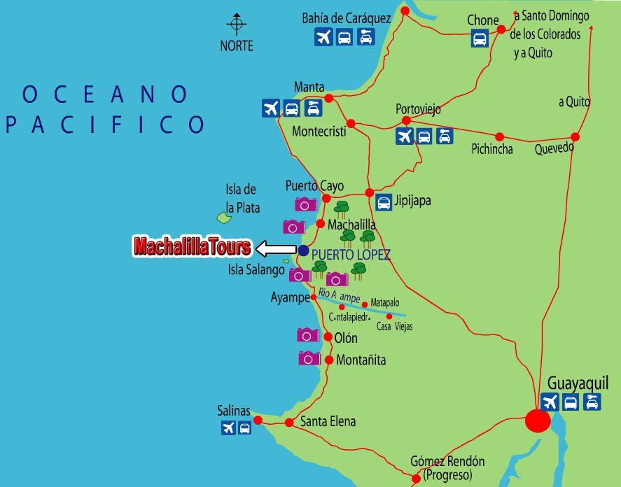 Mapa de Ecuador. Mapa de Puerto Lopez. Mapa de Montañita
