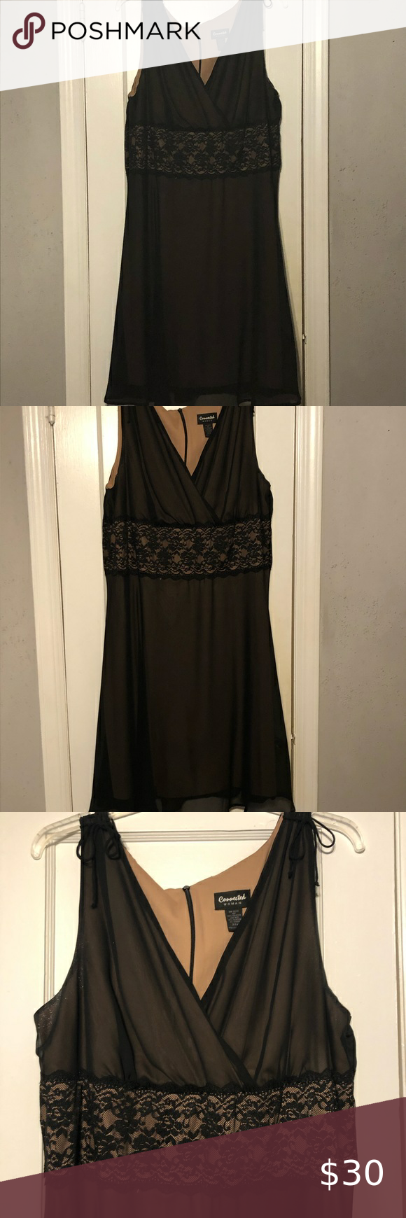 Women S Plus Size Black Dress With Sheer Overlay Plus Size Black Dresses Black Sheer Dress Classic Dress [ 1740 x 580 Pixel ]