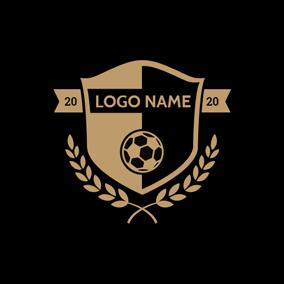 Black Badge And Yellow Football Logo Design Football Logo Design Fitness Logo Design Logo Design
