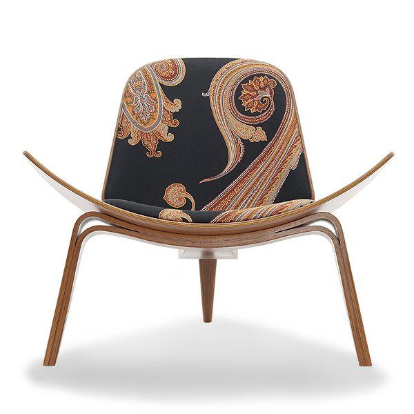 Massive Paisley Shell Chair Hans Wegner Shell Chair With Maharam Massive  Paisly Fabric. $3815.00