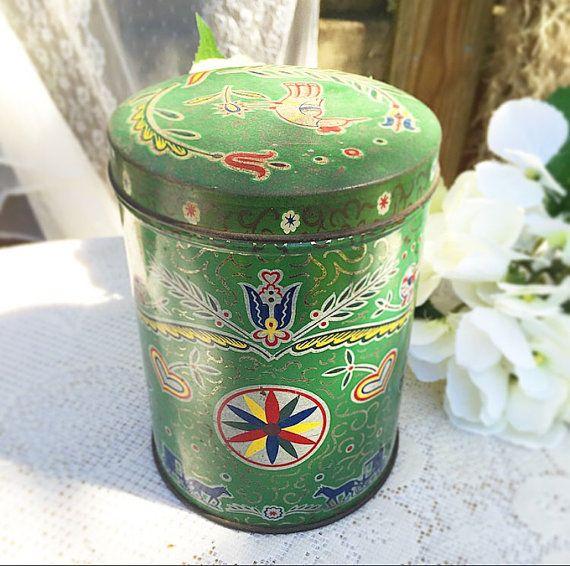 Vintage Dutch Green tin biscuit / cookie barrel. Bird Storage jar. Retro Boho cylinder canister, jewelry box holder, trinket, candy, tea