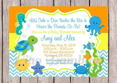 under the sea baby shower invitation | sea baby shower | pinterest, Baby shower invitations