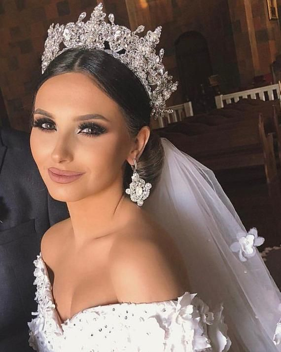 Silver wedding tiara crown and matching earrings, Quinceanera rhinestone tiara, Full wedding crown gold, Cathedral full bridal crown, Diadem