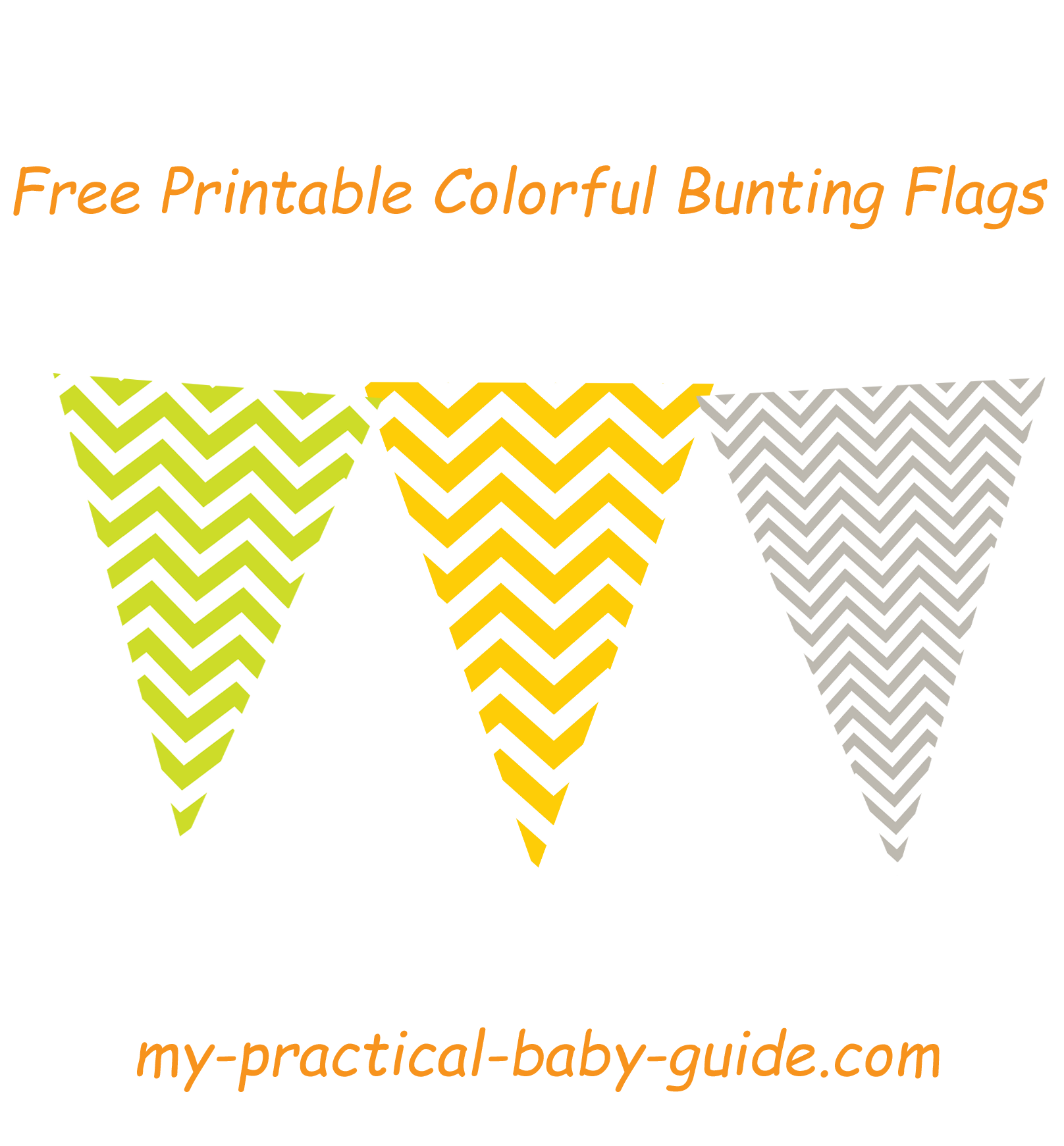 Free Printable Colorful Chevron Bunting Flags Lime Green Orange And Gray Are The Chosen Colors