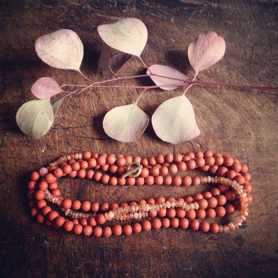 Long Crystal Beaded Necklace with Red Jasper by SanctuaryJewellery
