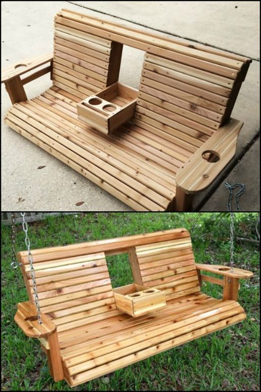 Pallet Patio Swing build a wood porch swing with cup holders! | diy porch, porch