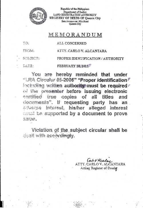 Quezon City Registry of Deeds memorandum for certified true copies - letter of authorization letter
