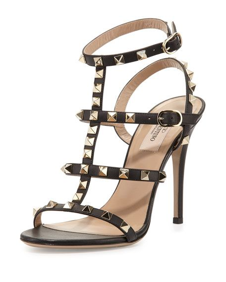 e7684652c6e Valentino calf leather sandal with signature platino Rockstud trim. 4.3