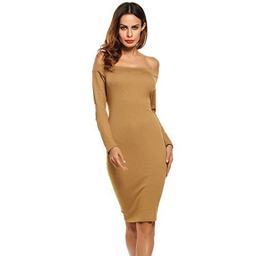 8418bb5dfb78 Peab Women Fashion Sexy Off Shoulder Long Sleeve Solid Bodycon Party Club  Pencil Short Dress L Khaki     Find out more about the great product at the  image ...