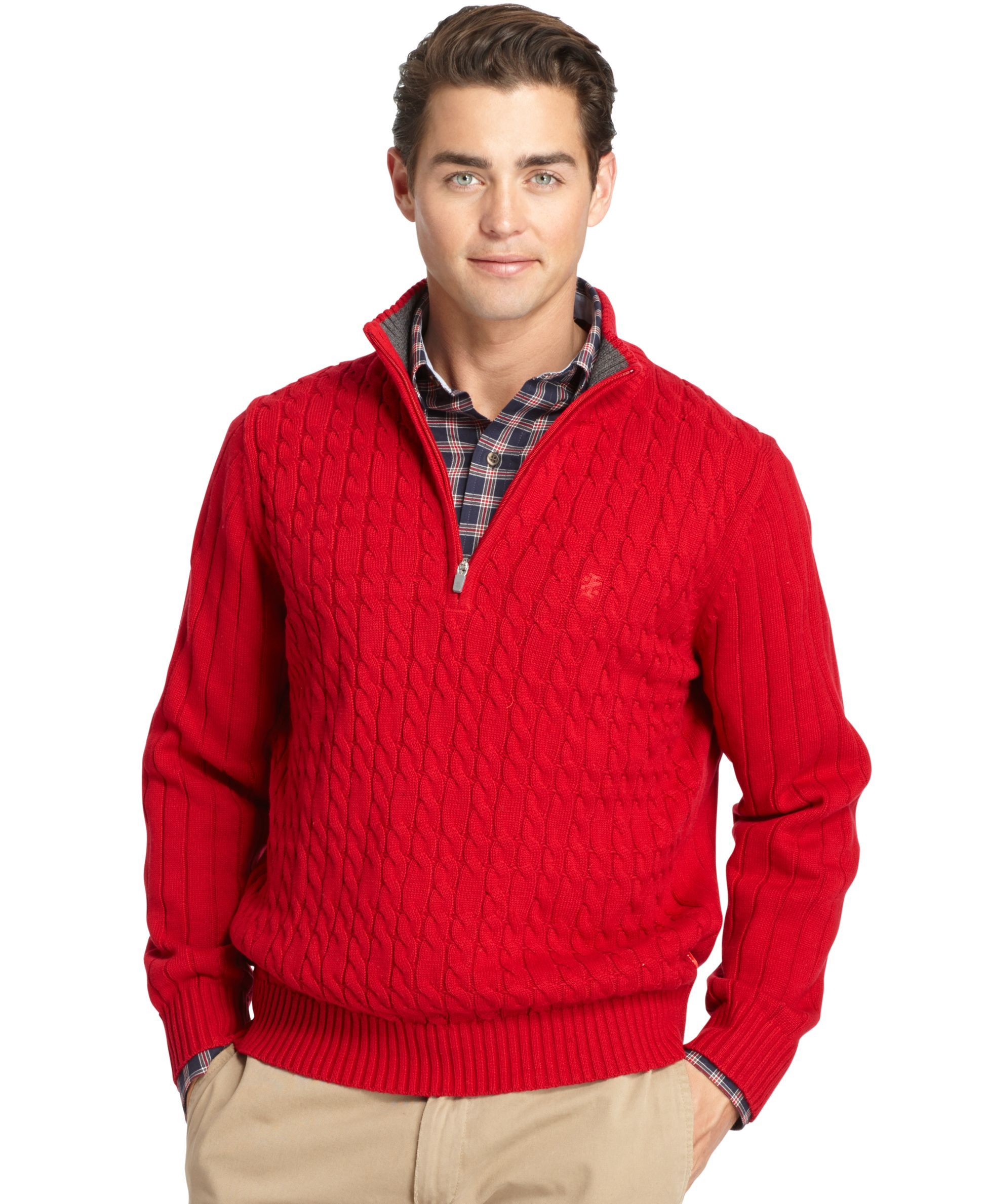 Izod Big and Tall Cable-Knit Quarter-Zip Sweater | Products ...