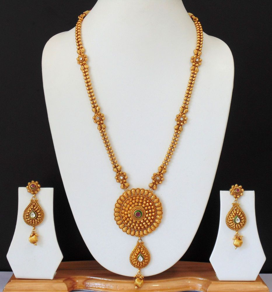 Indian Bridal Necklace Set 22k: Ethnic Indian Bridial Jewelry Long Necklace Polki Gold