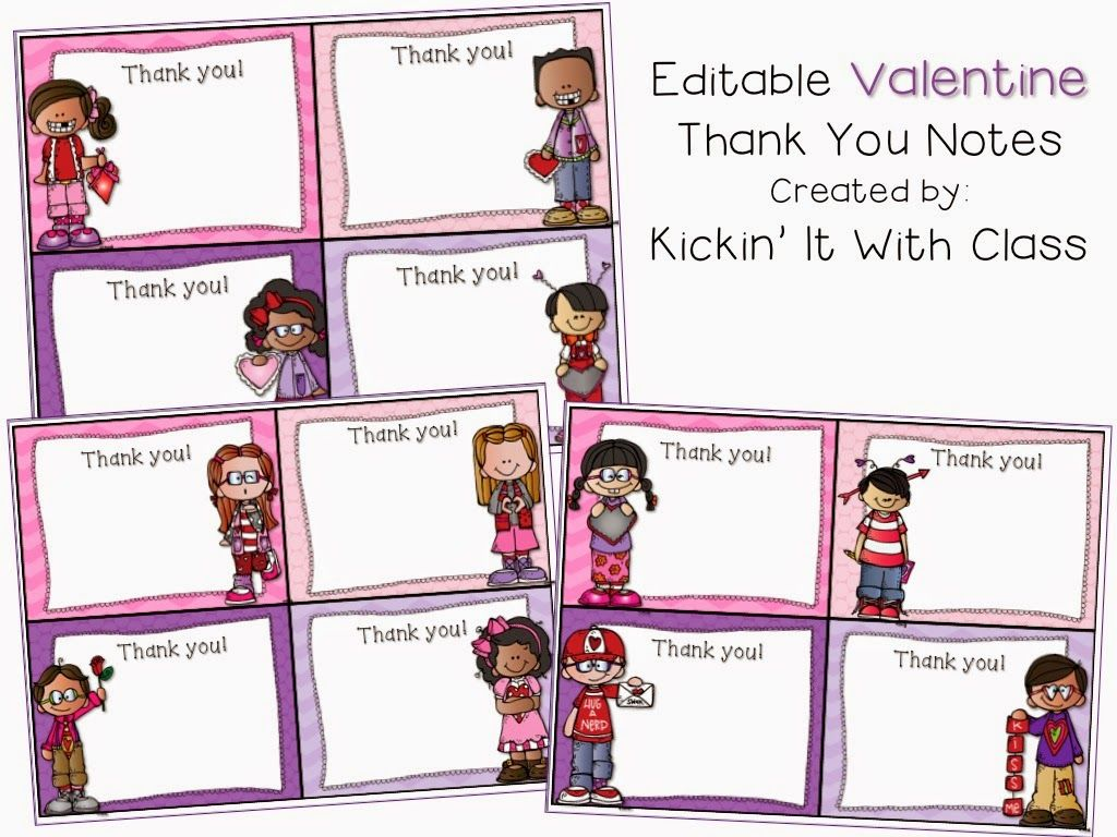 Editable Valentine Thank You Notes