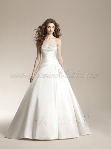 Stunning satin ruched and beaded ball gown by Jasmine Bridal. Maine ...