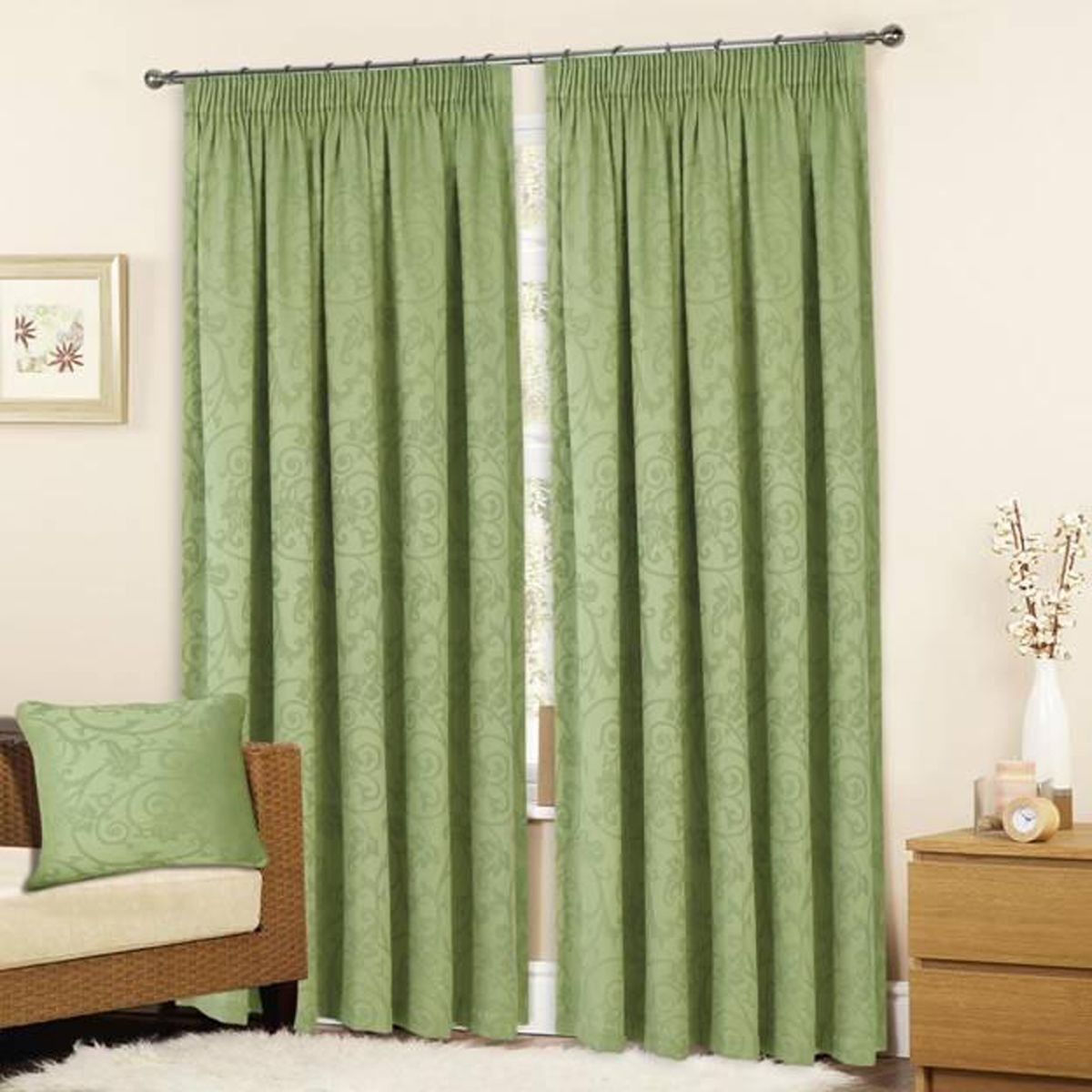 Turin Ready Made Lined Curtains   Sage