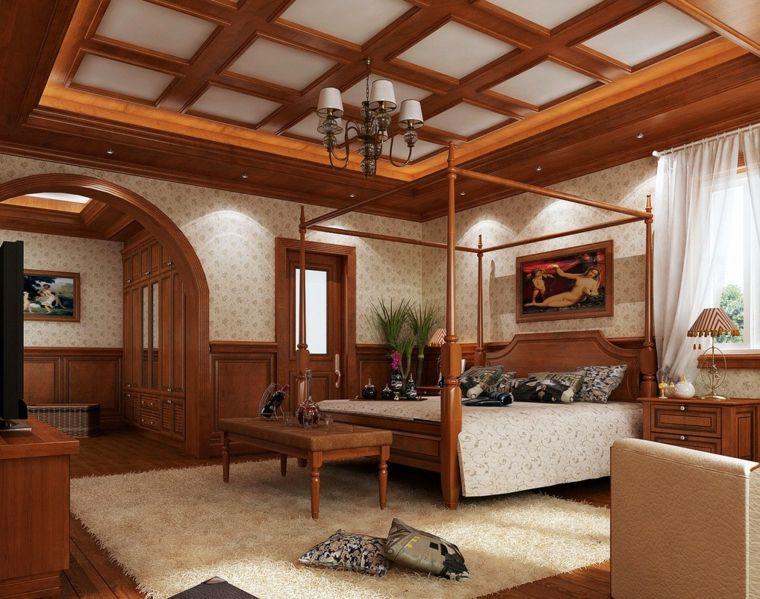 dormitorio clasico con techos de madera