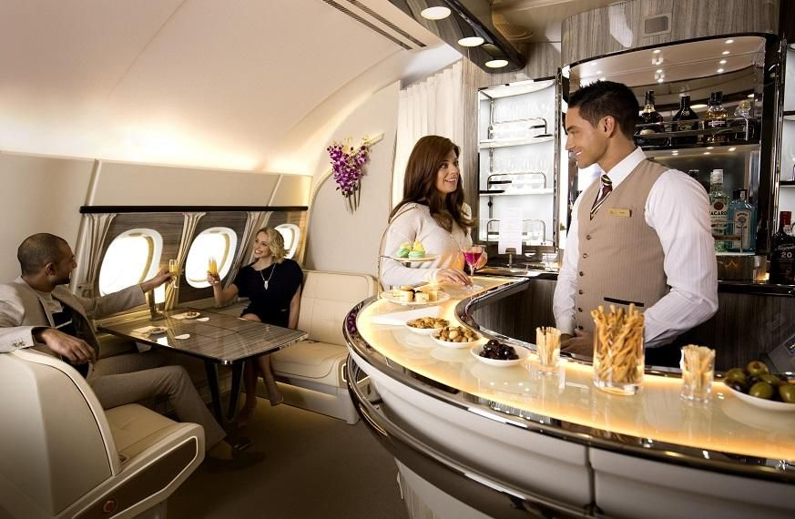 The new Emirates A380 Onboard Lounge will make its first