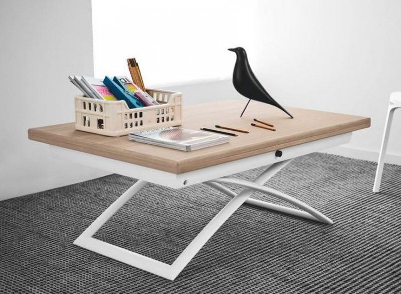 Table basse relevable extensible italienne magic j en bois - Mecanisme pour table basse relevable ...